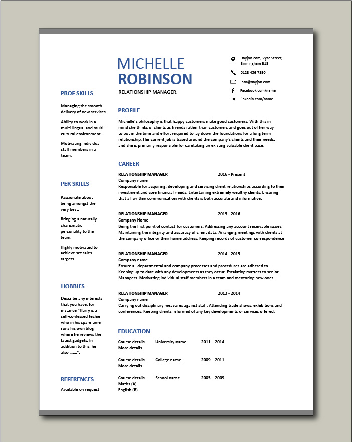 Free Relationship Manager resume template 3