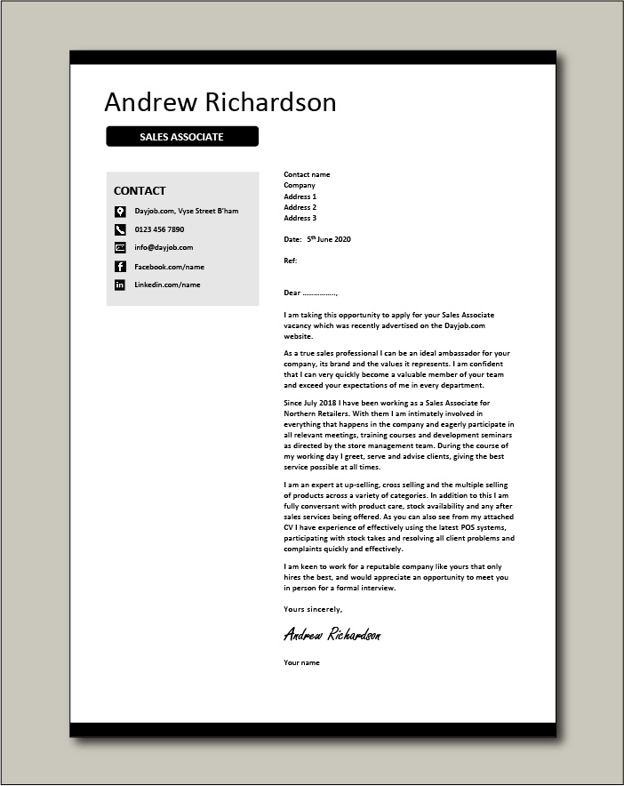 Sales Associate Cover Letter Retail Example Sample Selling Customer Service Cv Resume