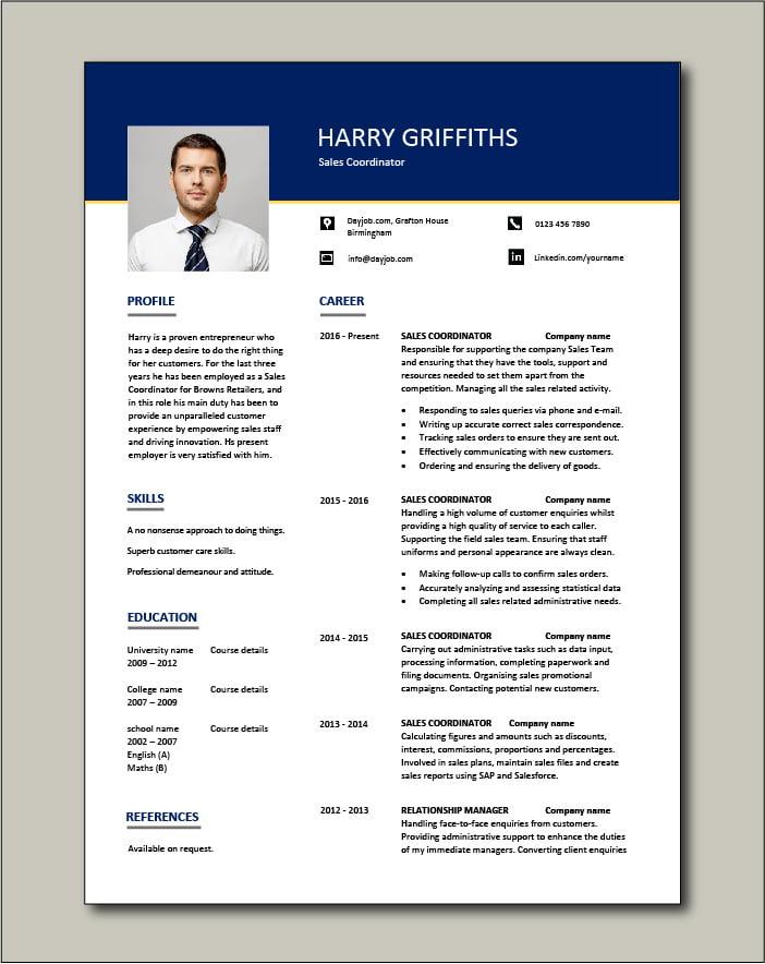 Sales Coordinator Resume Sample Example Job Description