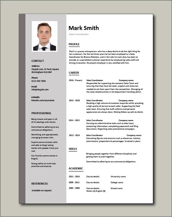 Free Sales Coordinator resume template 2