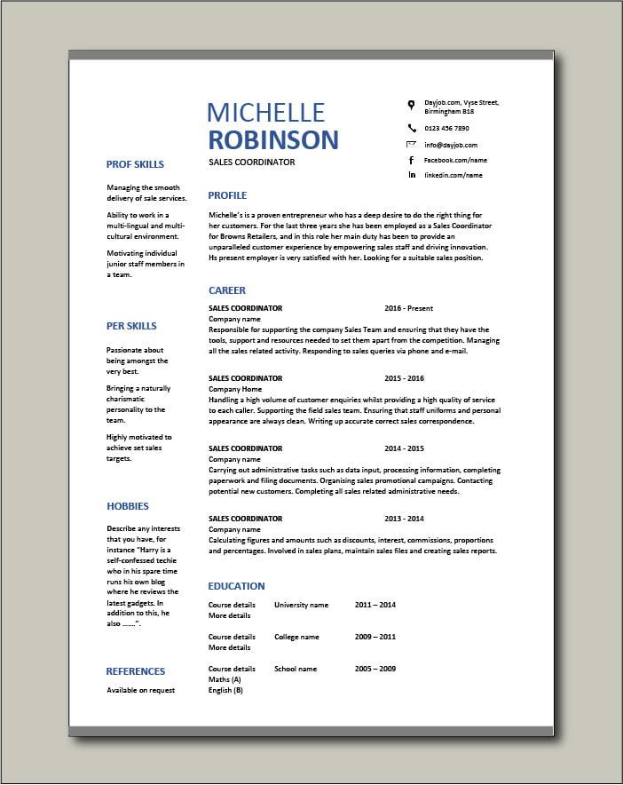 Free Sales Coordinator resume template 3