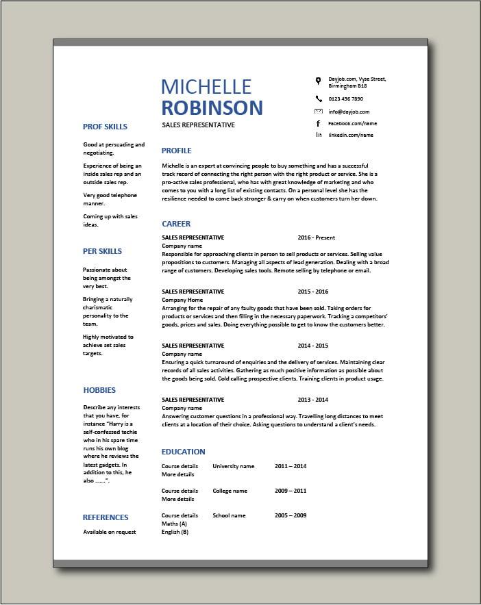 Free Sales Representative resume template 3