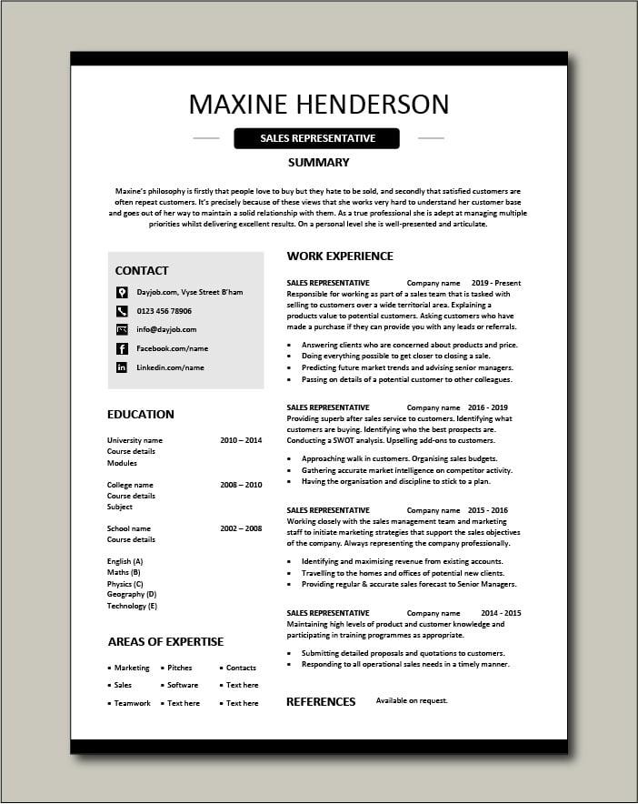 Free Sales Representative resume template 4