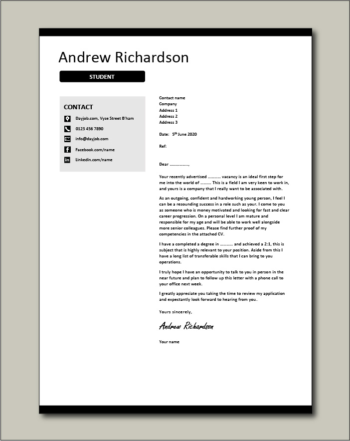 Free Student cover letter example 2