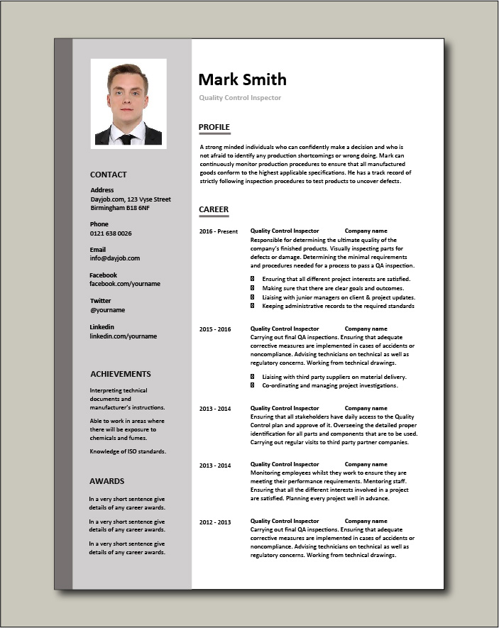 Quality Control Inspector resume - 2 page
