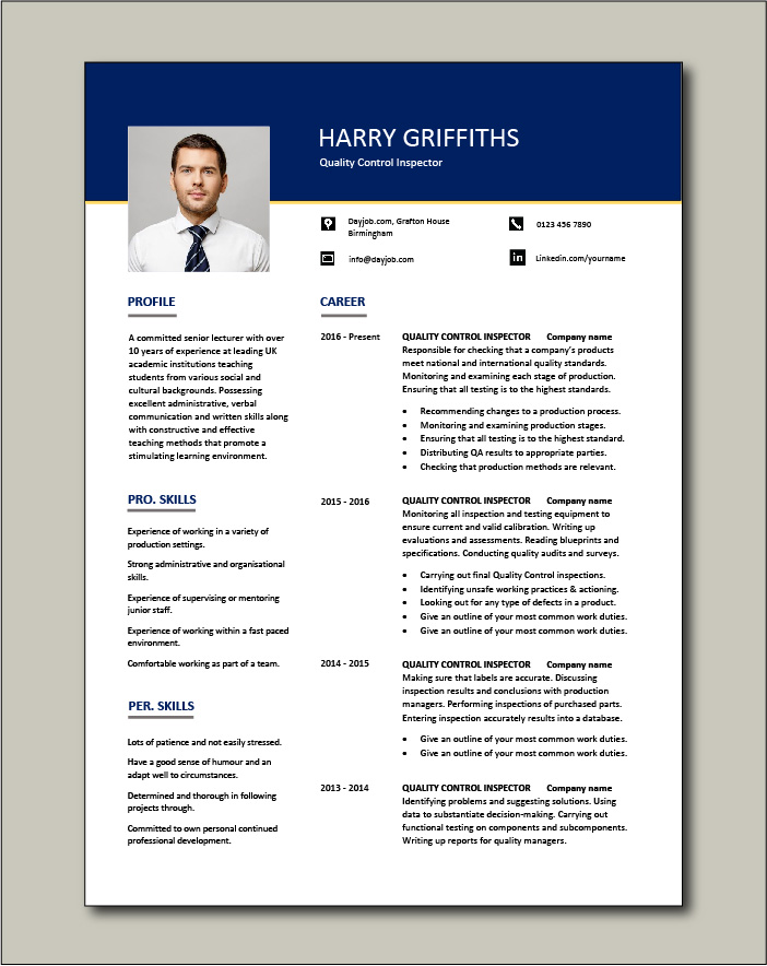 Quality Control Inspector resume - 2 pages