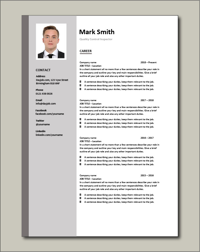 Quality Control Inspector resume - Career