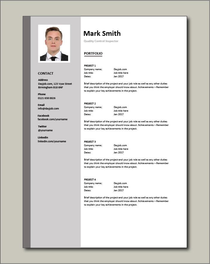 Quality Control Inspector resume - Portfolio