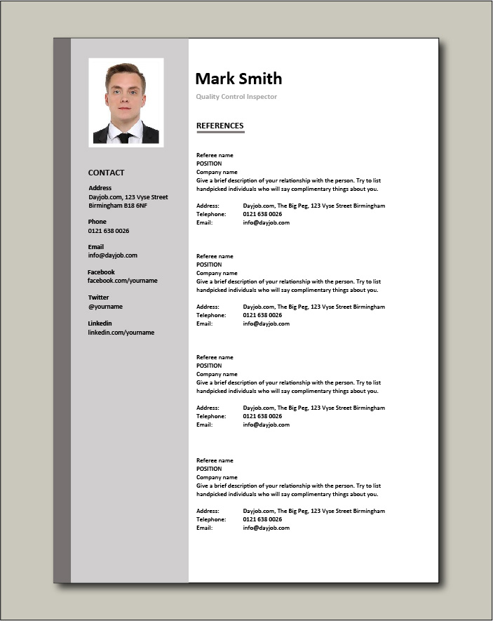 Quality Control Inspector resume - References