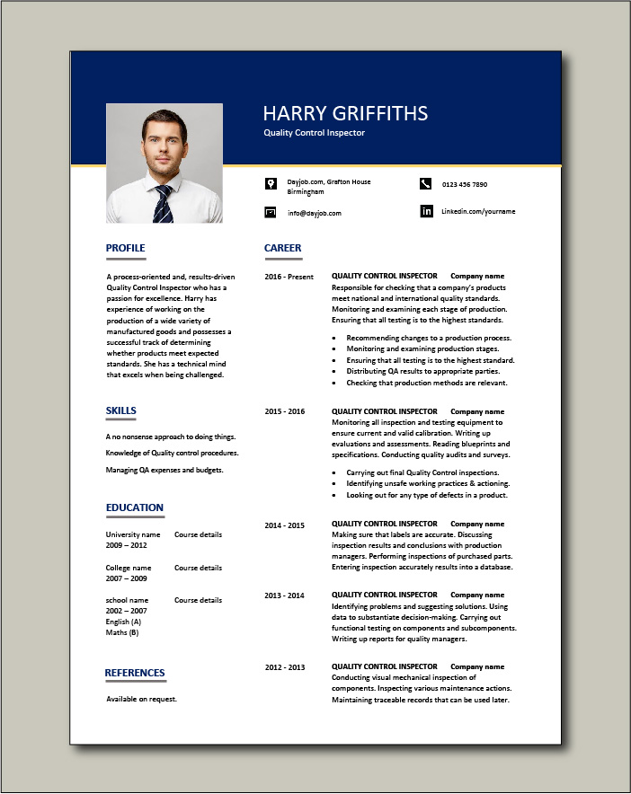 Quality Control Inspector resume template - 1 page