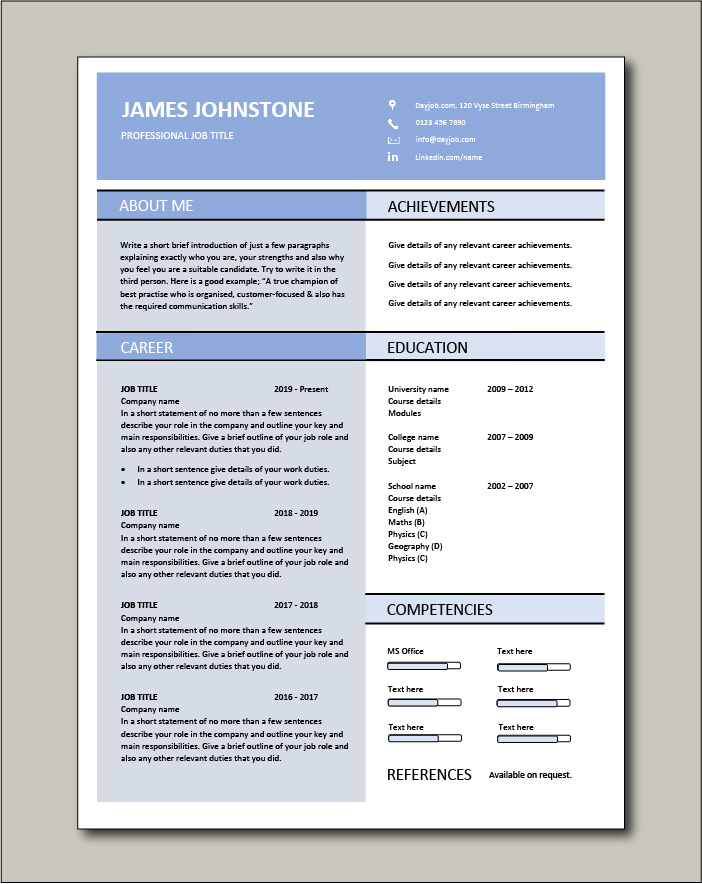 Free Resume Template 12 - 1 page
