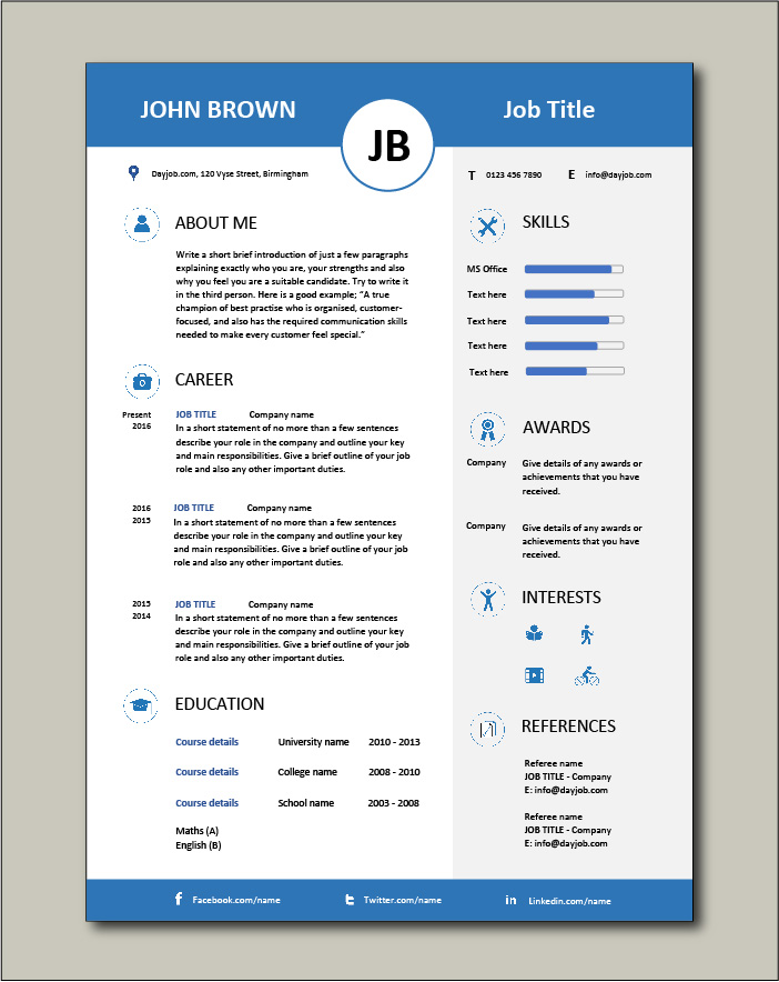 Free Resume Template 13 - 1 page