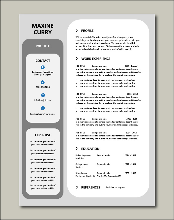 Free Resume Template 14 - 1 page