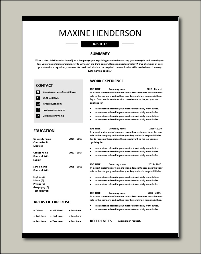 Free Resume Template 15 - 1 page