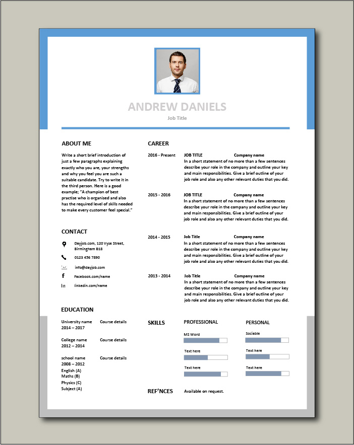 Free Resume Template 2 - 1 page