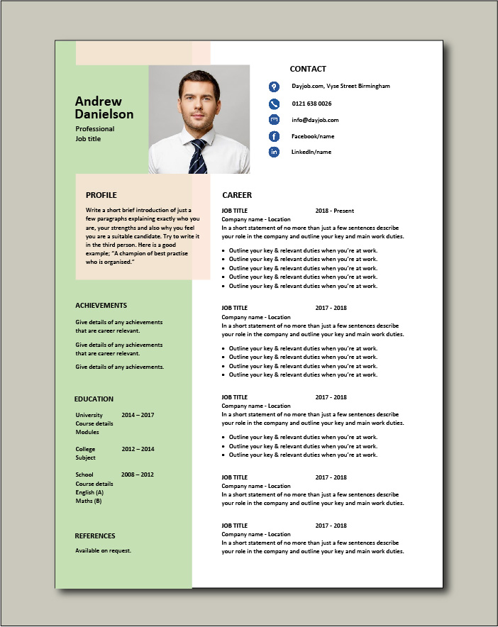 Free Resume Template 3 - 1 page