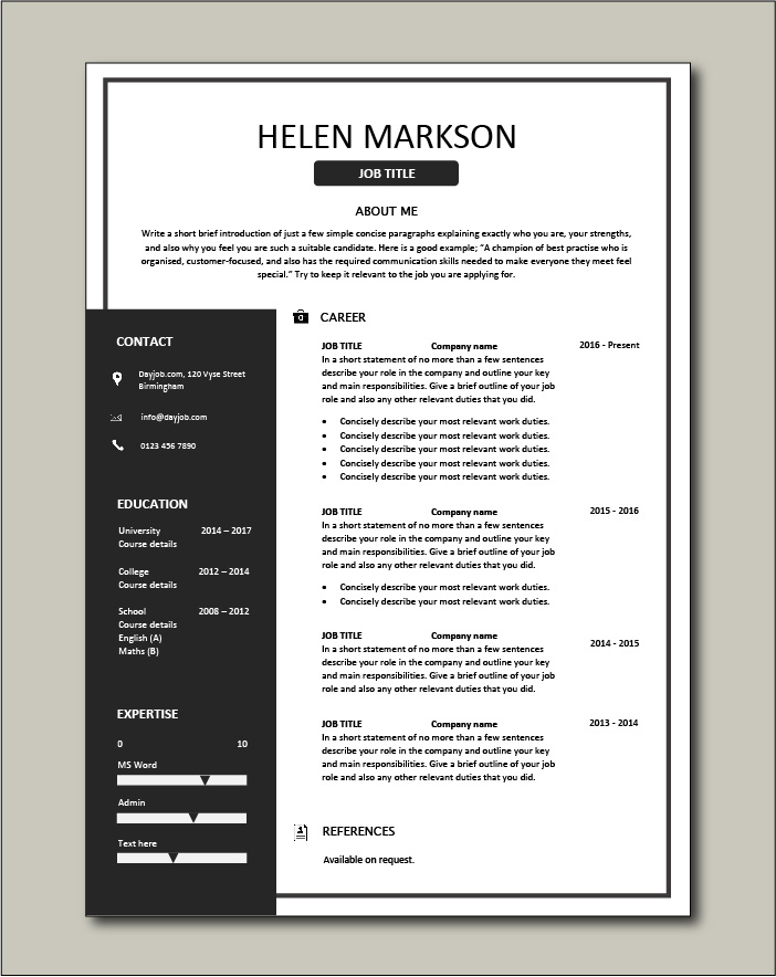 Free Resume Template 4 - 1 page