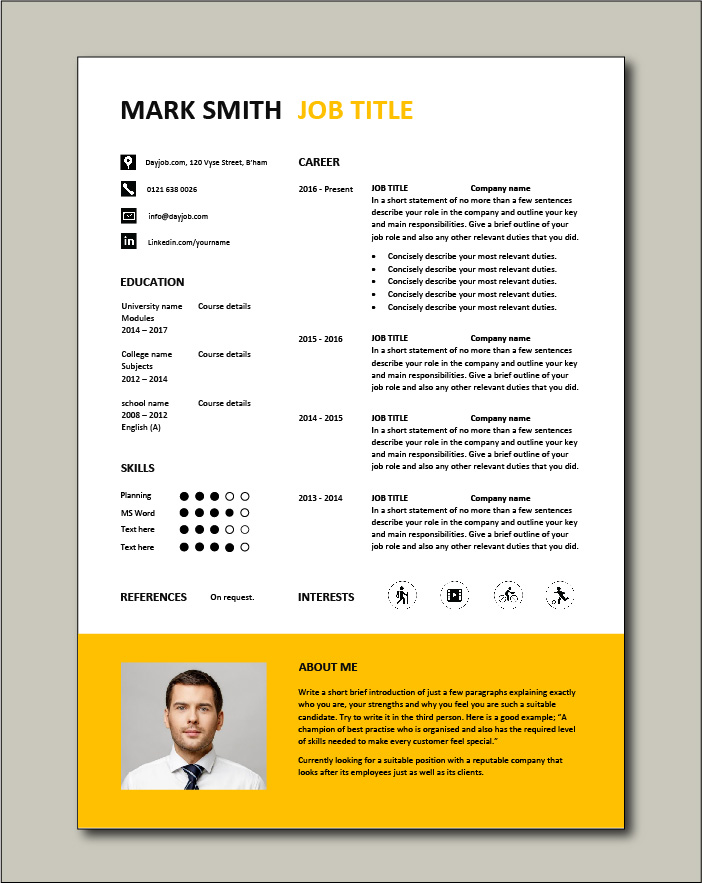 Free Resume Template 5 - 1 page