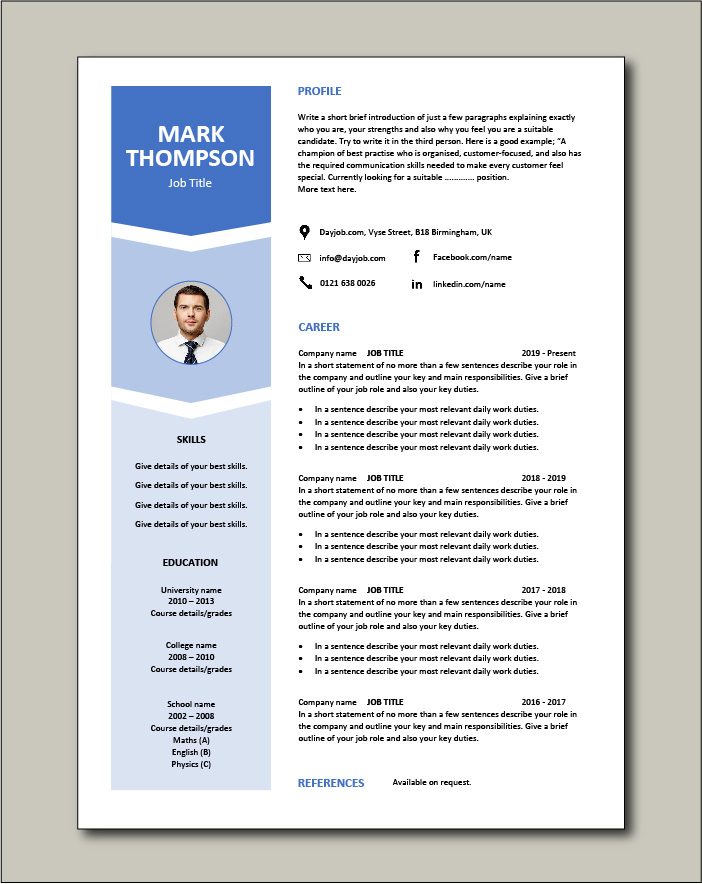 Free Resume Template 7 - 1 page