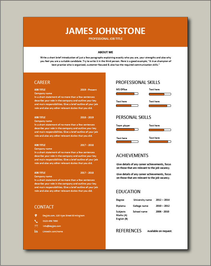 Free Resume Template 8 - 1 page