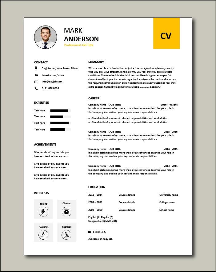 Premium CV template 54 - 1 Page