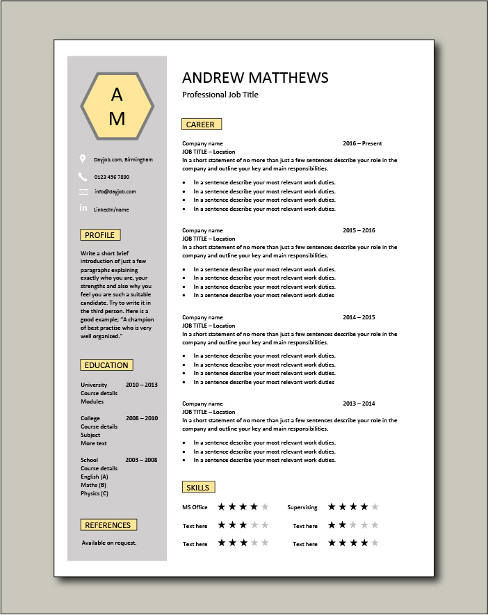 Premium CV template 56 - 1 page