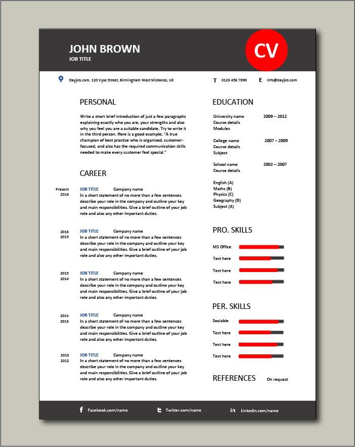 Premium CV template 58 - 1 page
