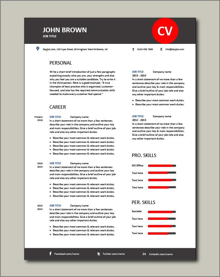 Premium CV template 58 - 2 pages