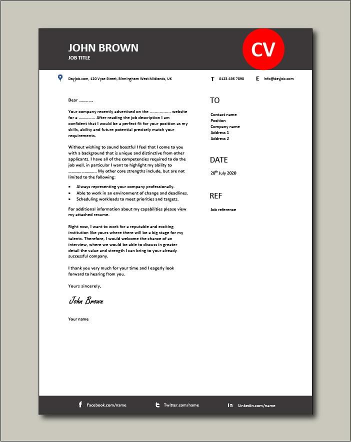 Premium CV template 58 - Cover letter