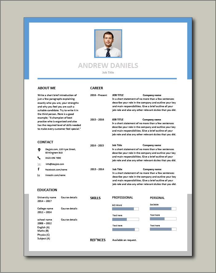 Premium CV template 59 - 1 page