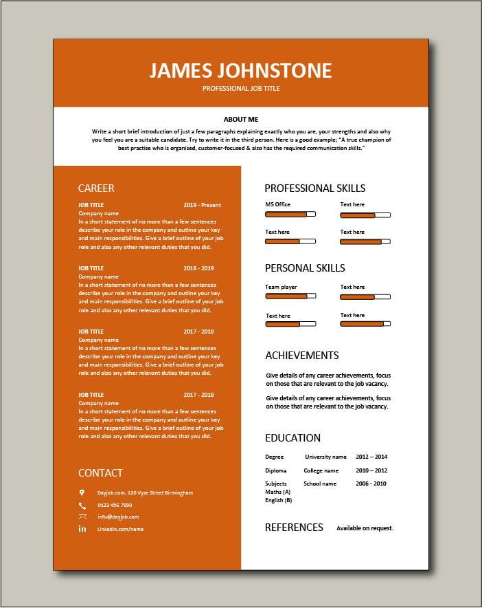 Premium CV template 60 - 1 page