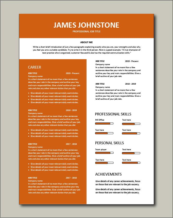 Premium CV template 60 - 2 pages