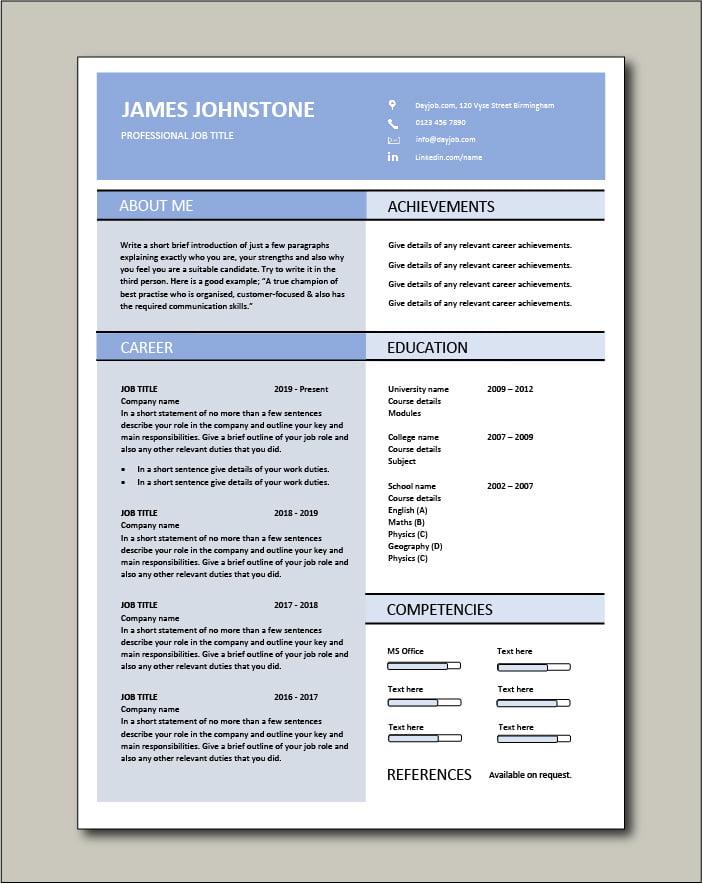 Premium CV template 61 - 1 page