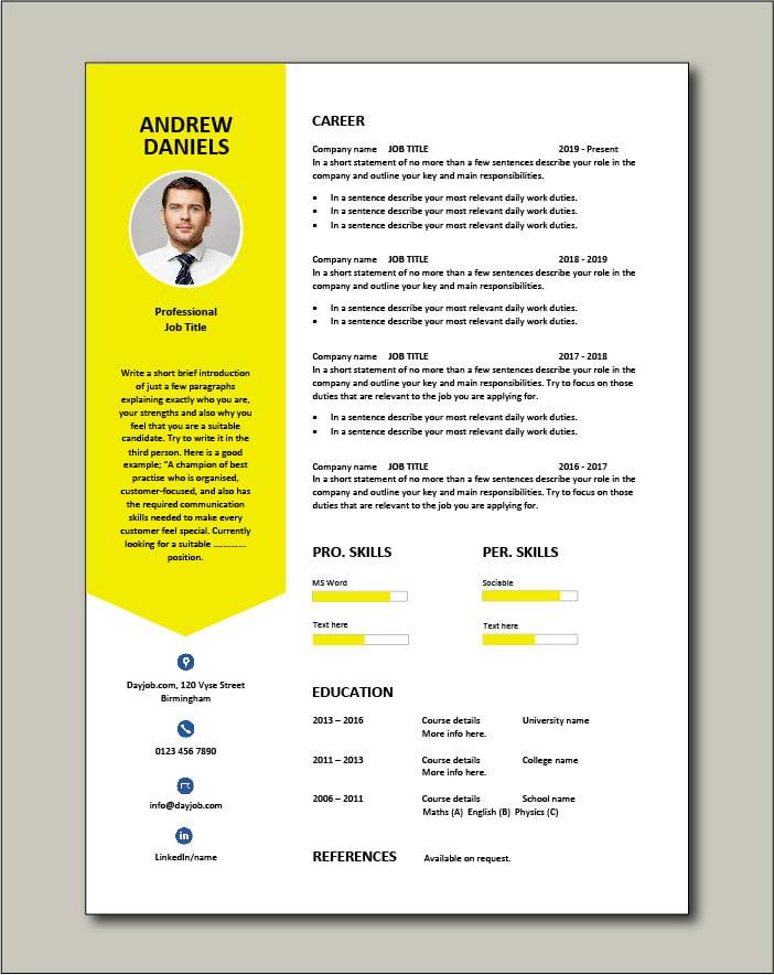Premium CV template 64 - 1 page