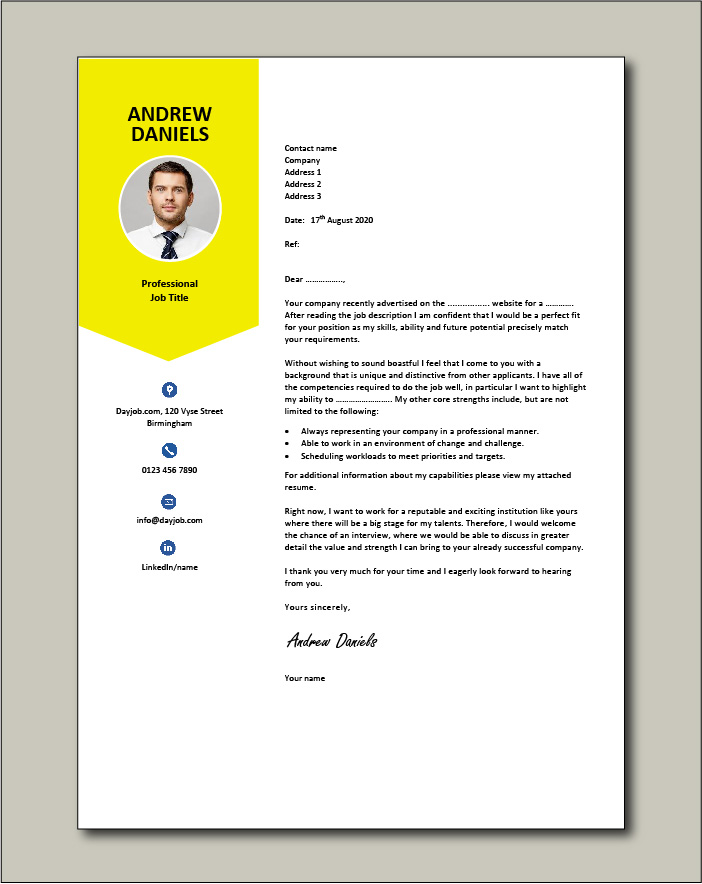 Premium CV template 64 - Cover letter