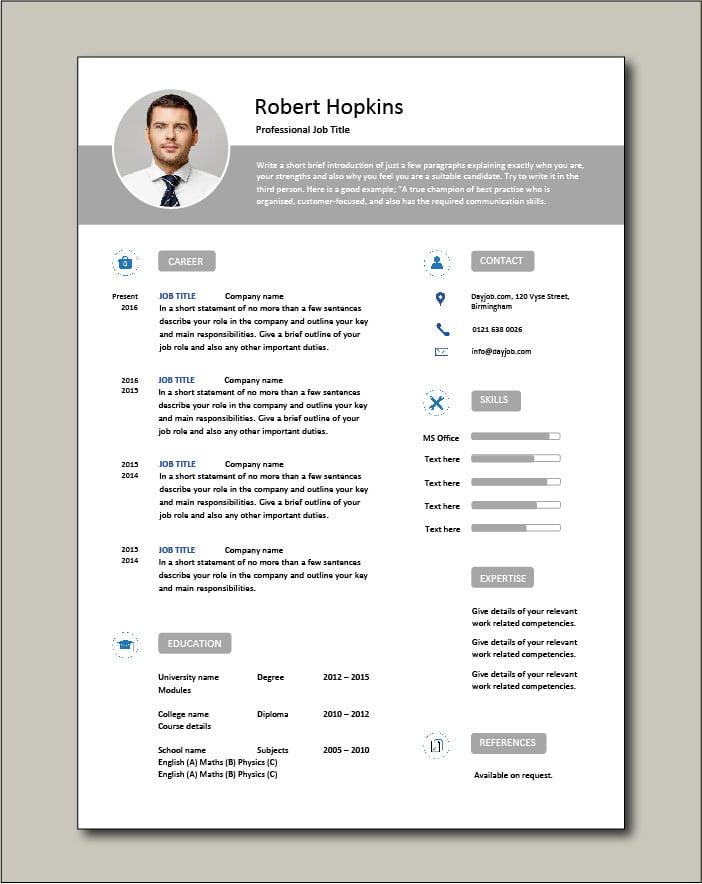 Premium CV template 65 - 1 page
