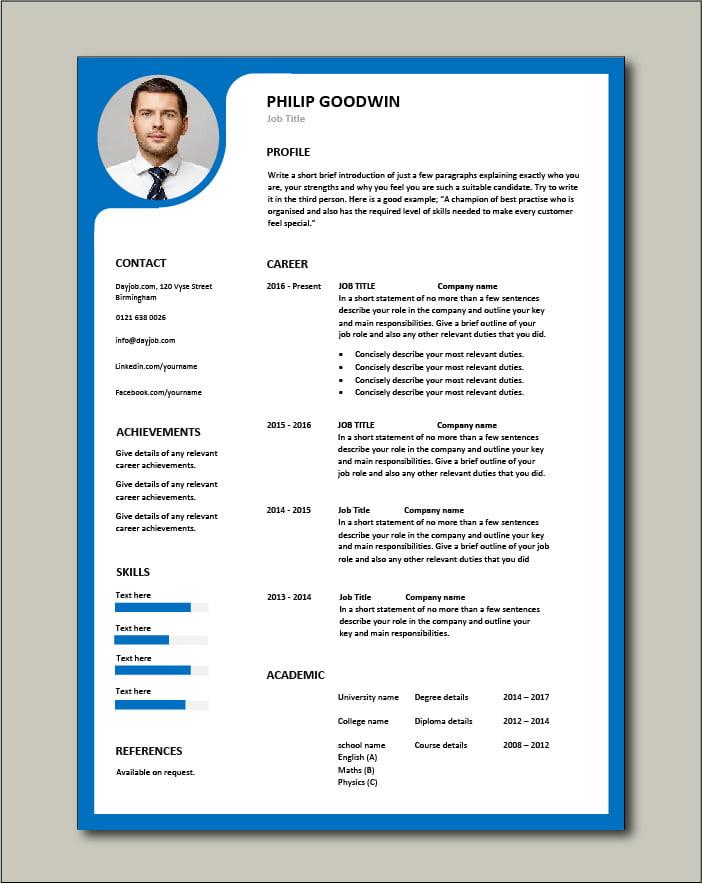 Premium CV template 66 - 1 page