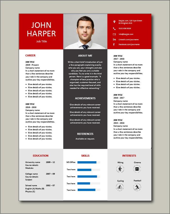 Premium CV template 67 - 1 page
