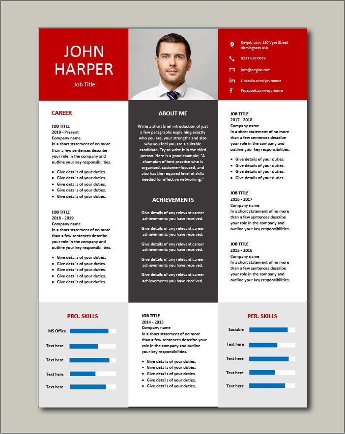 Premium CV template 67 - 2 pages