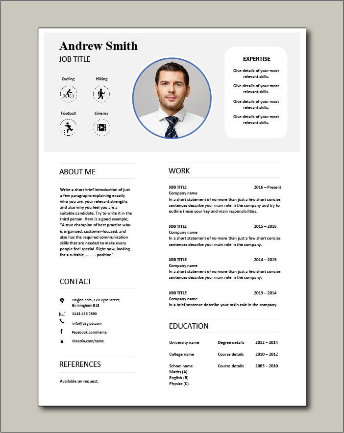 Premium CV template 68 - 1 page