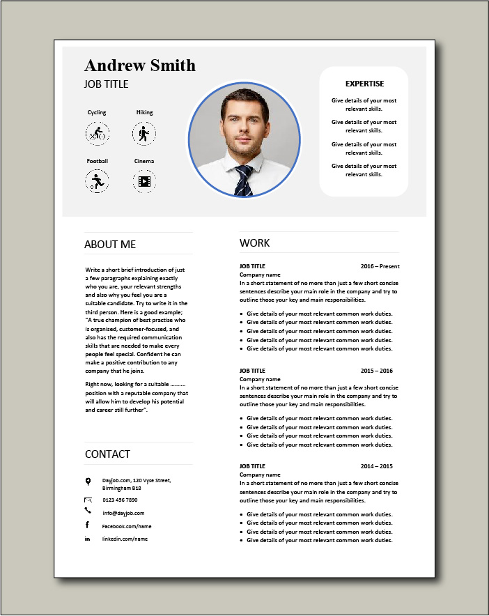 Premium CV template 68 - 2 pages
