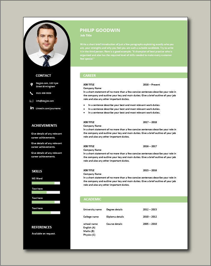 Premium CV template 69 - 1 page