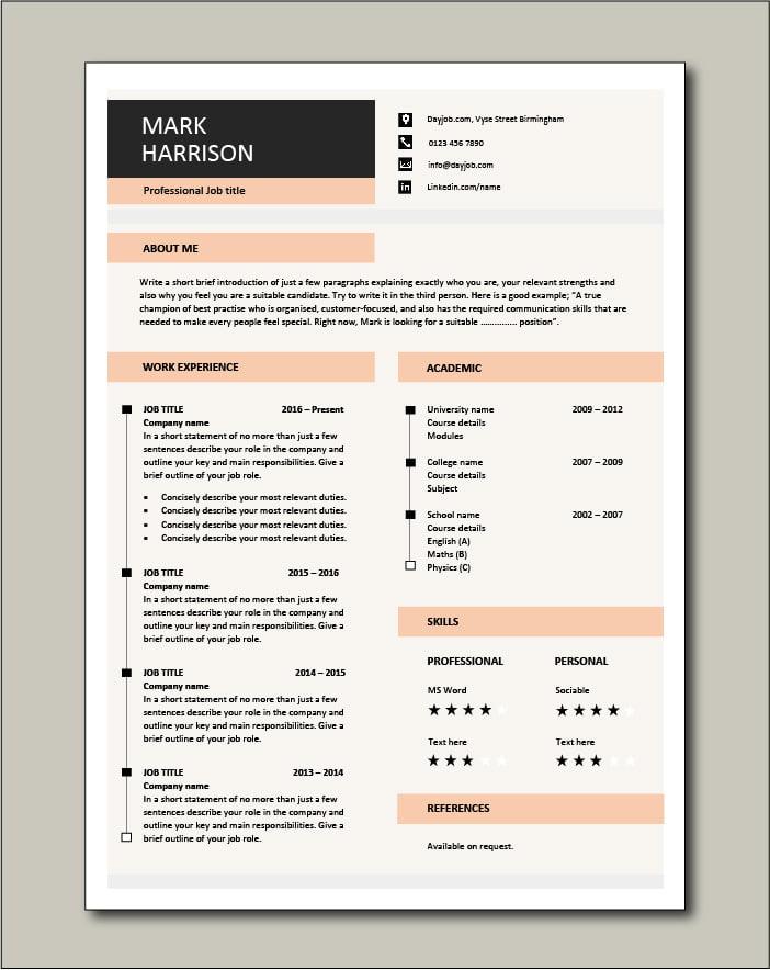 Premium CV template 70 - 1 page