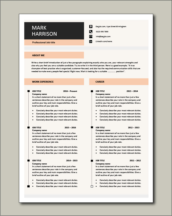 Premium CV template 70 - 2 pages