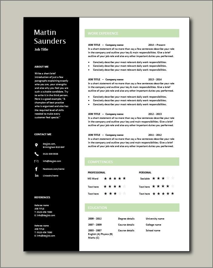 Premium CV template 71 - 1 page