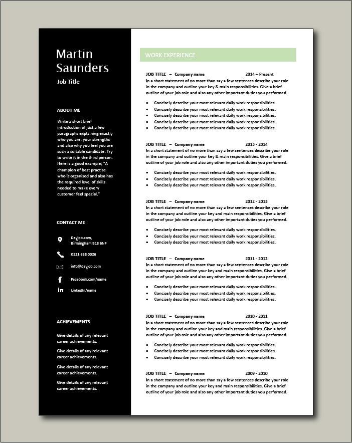 Premium CV template 71 - 2 pages