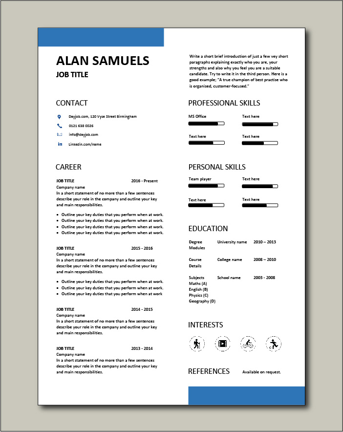 Premium CV template 72 - 1 page