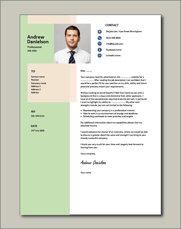 Premium template 52 - Cover letter