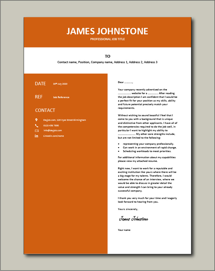 Premium template 60 - Cover letter