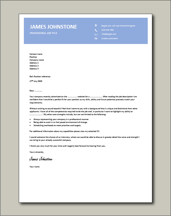 Premium template 61 - Cover letter